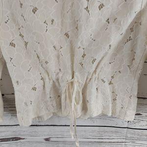 CAbi Jackets & Coats - Cabi cropped lace inset portrait jacket ivory M